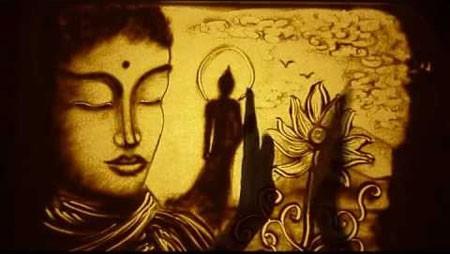 "Beautiful sand Art ""Awakening"" on Buddhism by Singaporean artist"