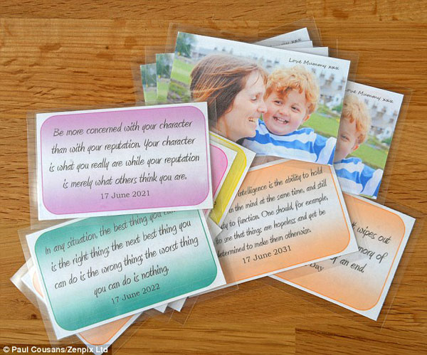 She wants to give him these cards so that when he looks at them, he can feel her close to him and know that she loves him very much.