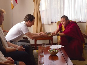 Cumberbatch and Dilgo Khyentse Yangsi Rinpoche discussed Buddhist philosophy during a private audience at Shechen Monastery in Boudhanath. Photo by Tenzing Rikksang.