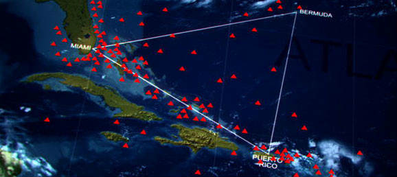 The Bermuda Triangle is a loosely defined region covering the area between Miami, Puerto Rico and Bermuda, where dozens of ships and planes have disappeared under mysterious circumstances.